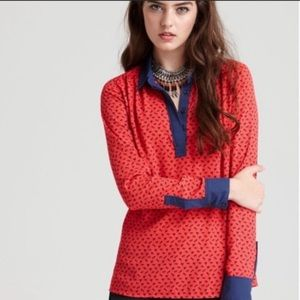 Free People Red Blue Horse Long Sleeve Blouse